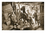 Provisional Farrier-Sergeant Cussens Extricating Horses from Stables in Which a Shell Had Burst Giclee Print by Howard K. Elcock