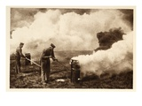 Igniting Smoke Bombs (B/W Photo) Giclee Print by  German photographer
