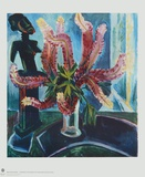 Still Life - Lupines with African Figure Reproductions de collection par Max Pechstein