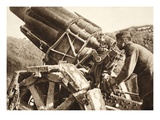 Aiming a German 21Cm Mortar (B/W Photo) Giclee Print by  German photographer