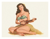 Pin Up Girl Playing Ukelele c.1951 Giclee Print by Al Moore