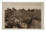German Cavalry Divisions Cross the Front to Find the First Enemy Graves (B/W Photo) Giclee Print by  German photographer