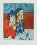 Harlequin and Companion Collectable Print by Pablo Picasso
