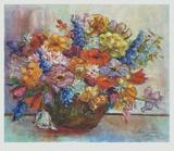 Blomsterbuket, Bouquet of Flowers Samlertryk af Mossig-zupan