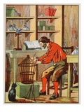 Robinson Crusoe Making a Cage for His Parrot Giclee Print by  English