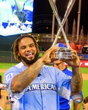 Prince Fielder with the 2012 Home Run Derby Champion Trophy Photo