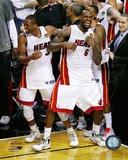 LeBron James & Dwyane Wade Celebrate Winning Game 5 of the 2012 NBA Finals Photo