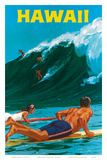 Big Wave Surfimg Póster por Chas Allen