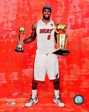LeBron James with the 2012 NBA Championship & MVP Trophies Game 5 of the 2012 NBA Finals Photo