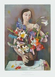 Girl with Flowers Collectable Print by Karl Hofer