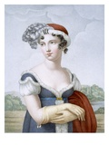 Beautiful Lady Dressed in Polonaise Style, Engraved by L. Dibart (Coloured Engraving) Giclee Print by  French