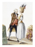 Elegant Lady at a Fitting with Her Tailor, Plate from 'Galerie Des Modes Et Costumes Francais' Premium Giclee Print by Pierre Thomas Le Clerc