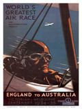 Air Race, England to Australia c.1934 Poster by Percy Trompf