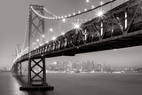 Bay Bridge at Night Art by Aaron Reed