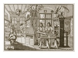 Medieval German Printing Press (Engraving) Giclee Print by Abraham van Werdt