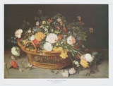 Still Life - Floral Basket Posters by Jan Brueghel the Younger