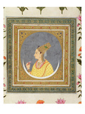 Portrait of a Lady Holding a Lotus Petal, from the Small Clive Album, C.1750-60 Giclee Print by  Mughal