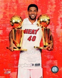 Udonis Haslem with hisTwo NBA Championship Trophies Game 5 of the 2012 NBA Finals Photo
