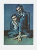 Old Beggar with a Boy コレクターズプリント : パブロ・ピカソ