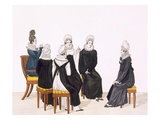 Young Women Chatting, C. 1820 (Colour Engraving) Giclee Print by  French