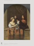 Singing Lady and Lute Player Collectable Print by Caspar Netscher