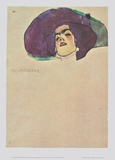 Head of a Woman with a Wide-Trimmed Hat - 1910 Prints by Egon Schiele