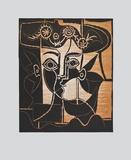 Large Woman's Head with decorated Hat Sammlerdruck von Pablo Picasso