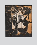 Large Woman's Head with decorated Hat Lmina coleccionable por Pablo Picasso