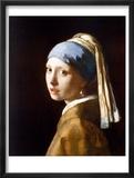 Jente med en perleøredobb Poster av Jan Vermeer