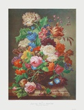 Flowers on a Marble Table Collectable Print by Joseph Nigg
