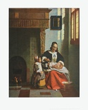Woman Peeling Apples, e.g.1663 Print by Pieter Hooch