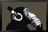 Schimpanse mit Kopfhörer Foto