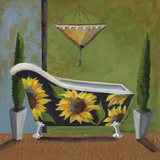 Tuscan Tub in Sunflower Prints by Cat Heartgeaves
