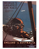 Air Race, England to Australia c.1934 Lmina gicle por Percy Trompf