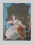 Lady with Dog and Birdcage Samlertryk af Thomas Gainsborough
