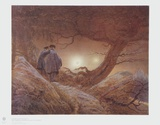 Two Men Gazing at the Moon Collectable Print by Caspar David Friedrich