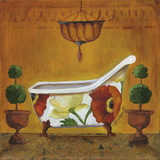 Tuscan Tub in Poppies Prints by Cat Heartgeaves