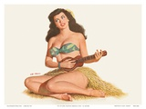 Pin Up Girl Playing Ukelele c.1951 Print by Al Moore