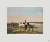 Scenery pf Rivere Isar with View at Munich Collectable Print by Wilhelm Alexander Wolfgang Kobell