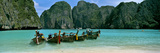 Longtail Boats in the Sea, Maya Bay, Phi Phi Le, Thailand Photographic Print by  Panoramic Images