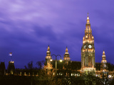 Austria, Vienna, Rathaus, Night Photographic Print by  Panoramic Images
