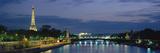 France, Paris, Eiffel Tower , Seine River Fotografisk tryk af Panoramic Images,