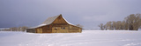 Barn in a Snow Covered Field, Grand Teton National Park, Teton County, Wyoming, USA Fotografisk tryk af Panoramic Images