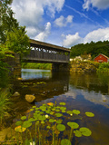 Covered Bridge across a River, Vermont, USA Photographic Print by  Panoramic Images