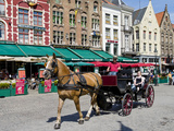 Horsedrawn Cart at a Market, Bruges, West Flanders, Belgium Photographic Print by  Panoramic Images