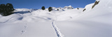 Footprints on a Snow Covered Landscape, Alps, Riederalp, Valais Canton, Switzerland Photographic Print by  Panoramic Images