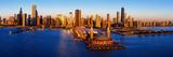 Sunrise at Navy Pier, Lake Michigan, Chicago, Cook County, Illinois, USA Fotografie-Druck von  Panoramic Images