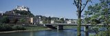 Bridge across a River, Caroline Bridge, Salzach River, Hohensalzburg Castle, Salzburg, Austria Photographic Print by  Panoramic Images