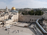 Tourists Praying at a Wall, Wailing Wall, Dome of the Rock, Temple Mount, Jerusalem, Israel Photographic Print by Panoramic Images