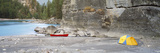 Camping Tent and a Canoe at the Riverside, Kootenay River, British Columbia, Canada Photographic Print by  Panoramic Images